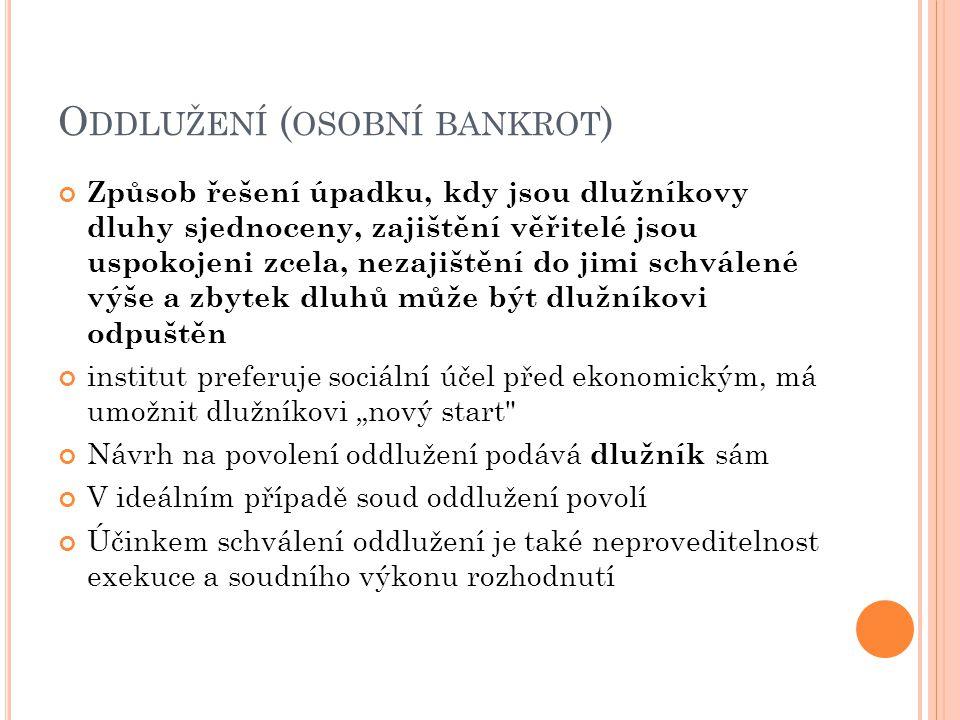 """O DDLUŽENÍ ( OSOBNÍ BANKROT ) Způsob řešení úpadku, kdy jsou dlužníkovy dluhy sjednoceny, zajištění věřitelé jsou uspokojeni zcela, nezajištění do jimi schválené výše a zbytek dluhů může být dlužníkovi odpuštěn institut preferuje sociální účel před ekonomickým, má umožnit dlužníkovi """"nový start Návrh na povolení oddlužení podává dlužník sám V ideálním případě soud oddlužení povolí Účinkem schválení oddlužení je také neproveditelnost exekuce a soudního výkonu rozhodnutí"""