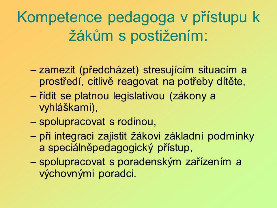 Kompetence pedagoga v přístupu k žákům s postižením: –zamezit (předcházet) stresujícím situacím a prostředí, citlivě reagovat na potřeby dítěte, –řídi
