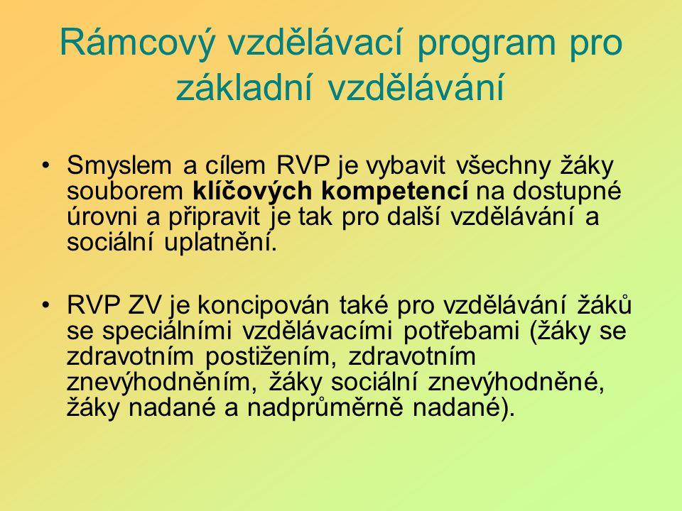 Rámcový vzdělávací program pro základní vzdělávání Smyslem a cílem RVP je vybavit všechny žáky souborem klíčových kompetencí na dostupné úrovni a přip
