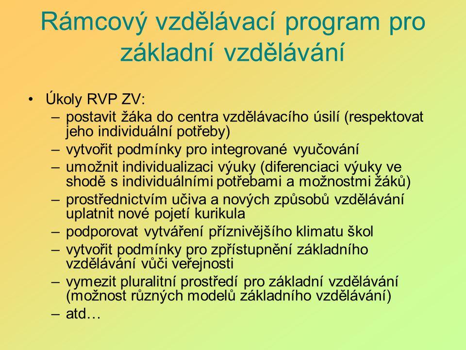 Rámcový vzdělávací program pro základní vzdělávání Úkoly RVP ZV: –postavit žáka do centra vzdělávacího úsilí (respektovat jeho individuální potřeby) –