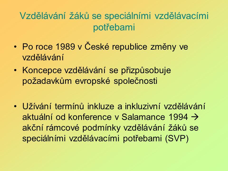 Vzdělávání žáků se speciálními vzdělávacími potřebami Po roce 1989 v České republice změny ve vzdělávání Koncepce vzdělávání se přizpůsobuje požadavků