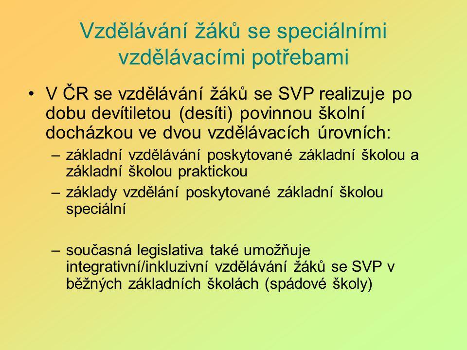 Vzdělávání žáků se speciálními vzdělávacími potřebami V ČR se vzdělávání žáků se SVP realizuje po dobu devítiletou (desíti) povinnou školní docházkou