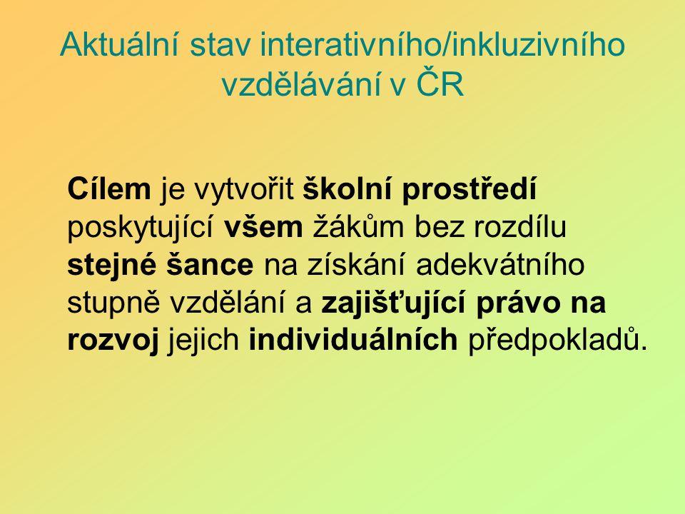 Aktuální stav interativního/inkluzivního vzdělávání v ČR Cílem je vytvořit školní prostředí poskytující všem žákům bez rozdílu stejné šance na získání