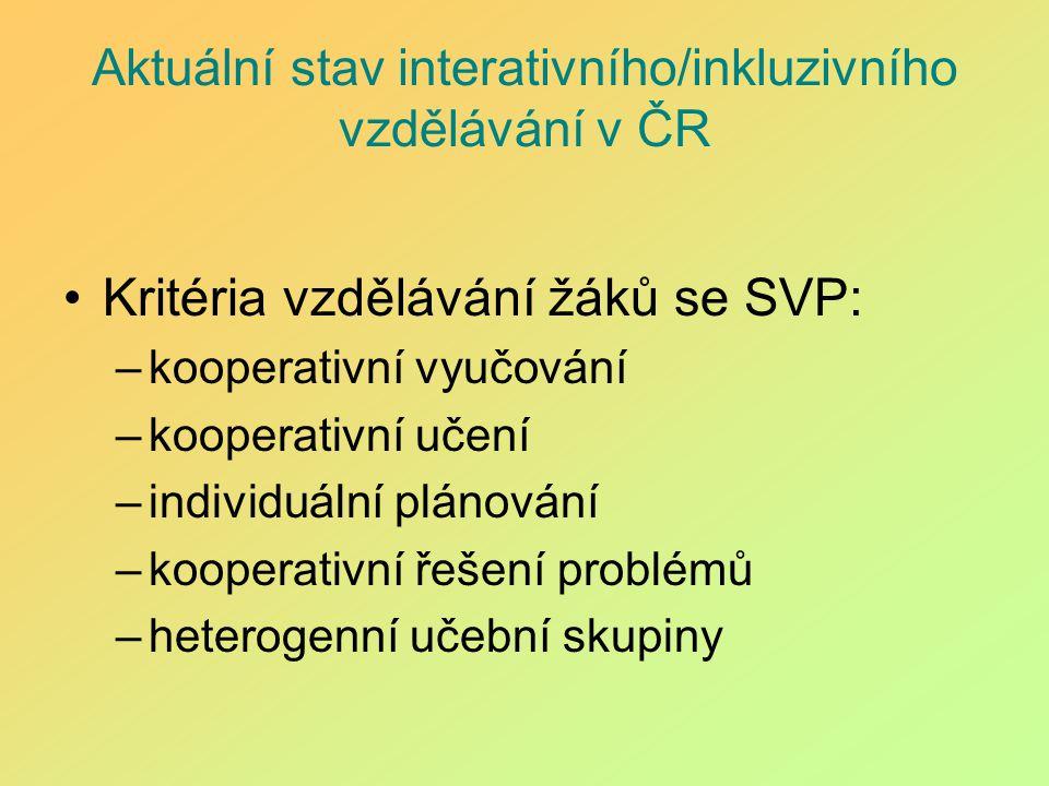 Aktuální stav interativního/inkluzivního vzdělávání v ČR Kritéria vzdělávání žáků se SVP: –kooperativní vyučování –kooperativní učení –individuální pl