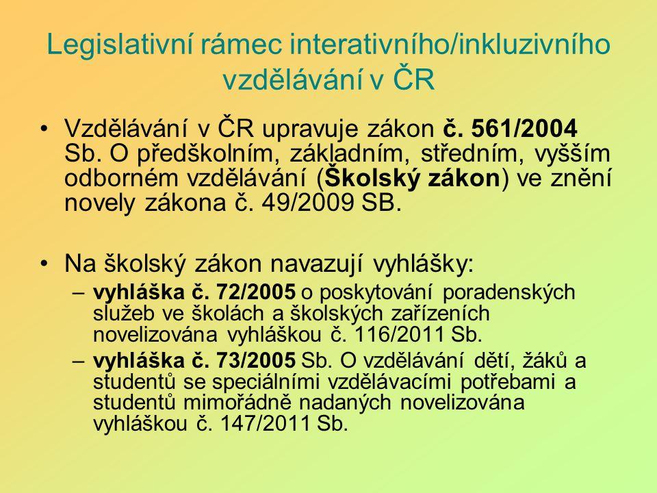 Legislativní rámec interativního/inkluzivního vzdělávání v ČR Vzdělávání v ČR upravuje zákon č. 561/2004 Sb. O předškolním, základním, středním, vyšší