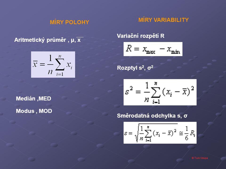 © Tom Vespa Variační rozpětí R Rozptyl s 2, σ 2 Směrodatná odchylka s, σ MÍRY VARIABILITY Aritmetický průměr, μ, x Medián,MED Modus, MOD MÍRY POLOHY