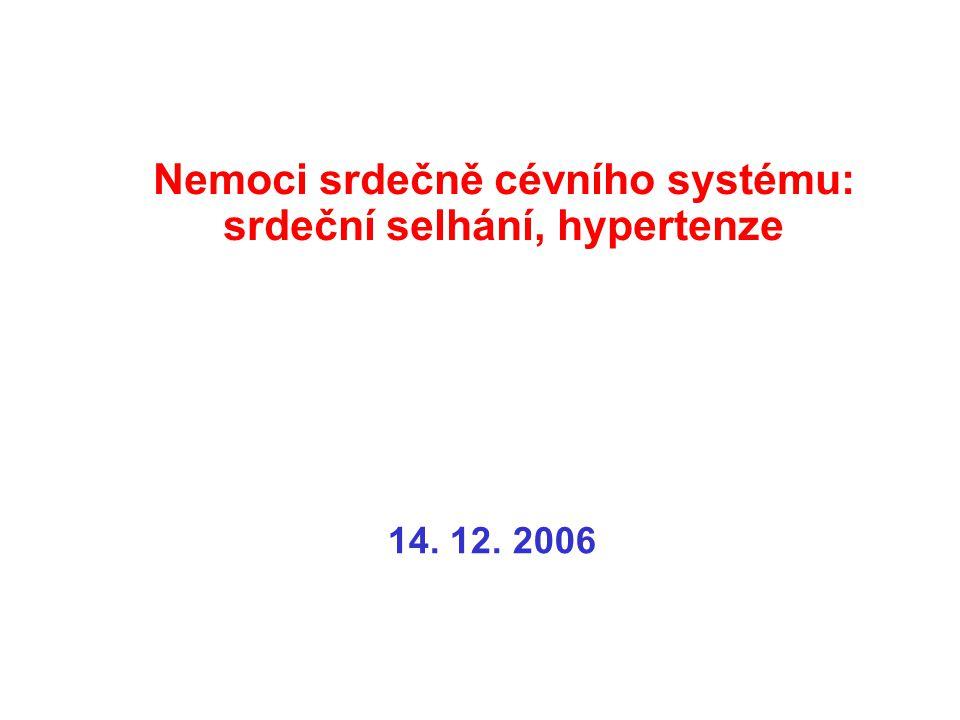 Nemoci srdečně cévního systému: srdeční selhání, hypertenze 14. 12. 2006