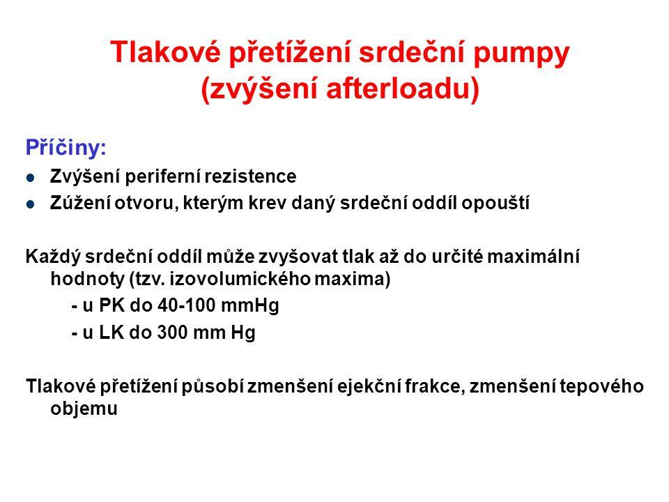 Tlakové přetížení srdeční pumpy (zvýšení afterloadu) Příčiny: Zvýšení periferní rezistence Zúžení otvoru, kterým krev daný srdeční oddíl opouští Každý