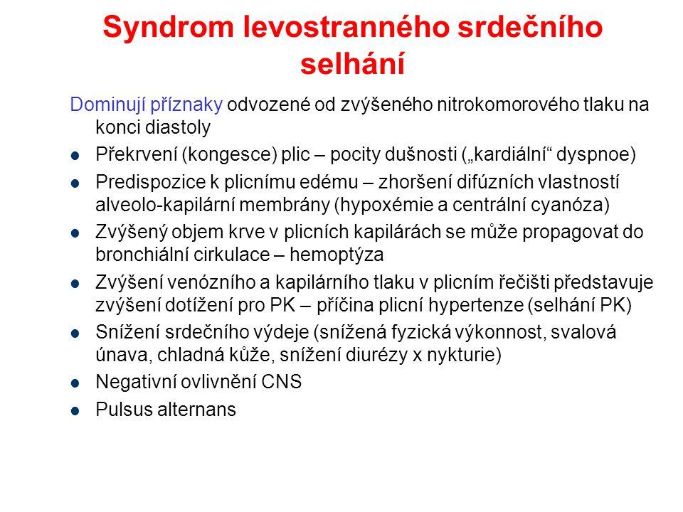 """Dominují příznaky odvozené od zvýšeného nitrokomorového tlaku na konci diastoly Překrvení (kongesce) plic – pocity dušnosti (""""kardiální"""" dyspnoe) Pred"""