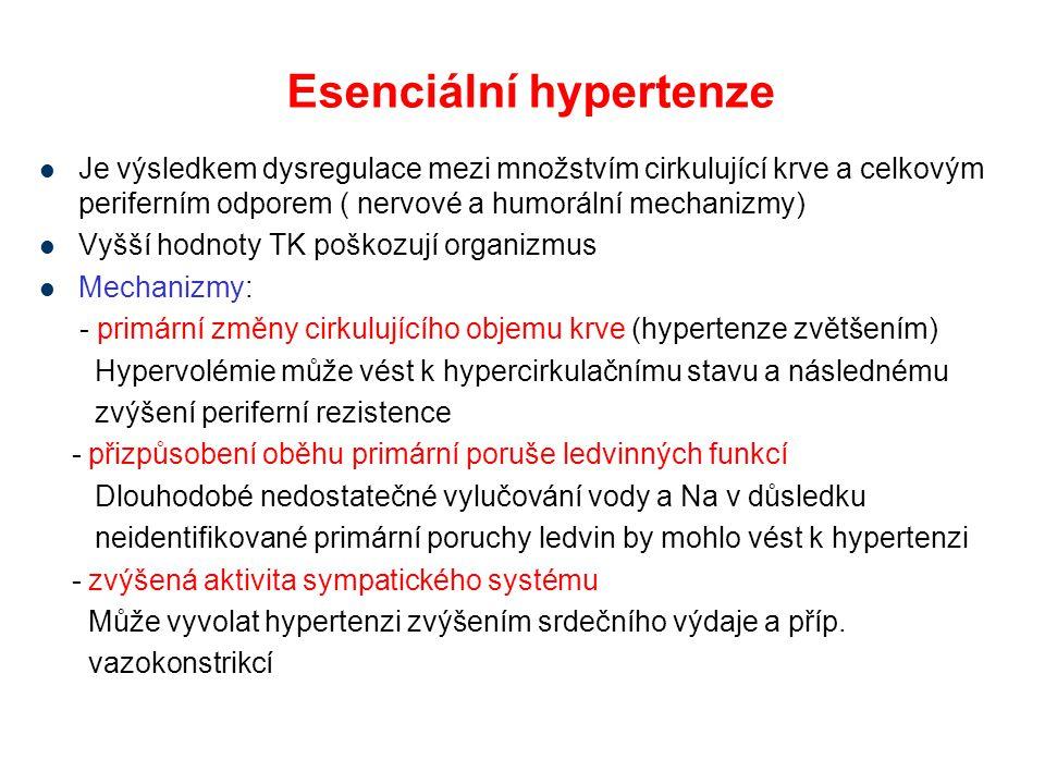 Esenciální hypertenze Je výsledkem dysregulace mezi množstvím cirkulující krve a celkovým periferním odporem ( nervové a humorální mechanizmy) Vyšší h