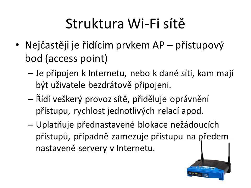 Struktura Wi-Fi sítě Nejčastěji je řídícím prvkem AP – přístupový bod (access point) – Je připojen k Internetu, nebo k dané síti, kam mají být uživate