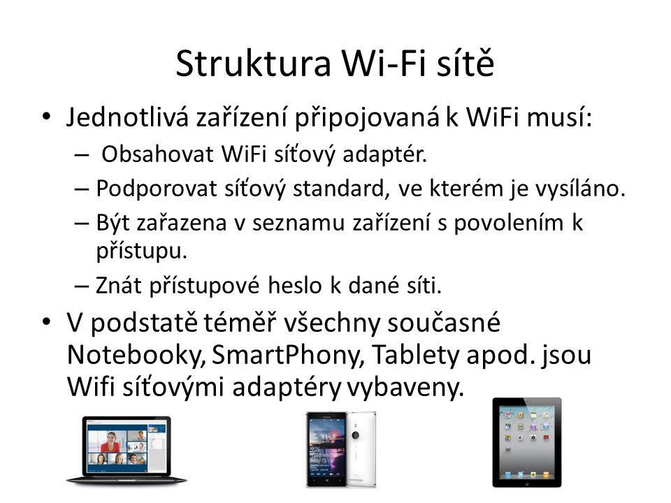 Struktura Wi-Fi sítě Jednotlivá zařízení připojovaná k WiFi musí: – Obsahovat WiFi síťový adaptér. – Podporovat síťový standard, ve kterém je vysíláno