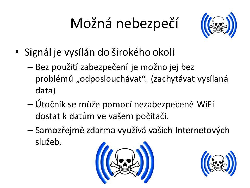 """Možná nebezpečí Signál je vysílán do širokého okolí – Bez použití zabezpečení je možno jej bez problémů """"odposlouchávat"""". (zachytávat vysílaná data) –"""