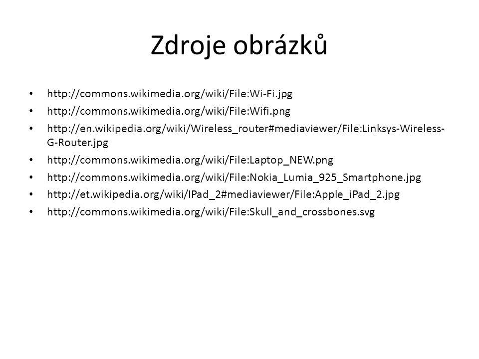 Zdroje obrázků http://commons.wikimedia.org/wiki/File:Wi-Fi.jpg http://commons.wikimedia.org/wiki/File:Wifi.png http://en.wikipedia.org/wiki/Wireless_