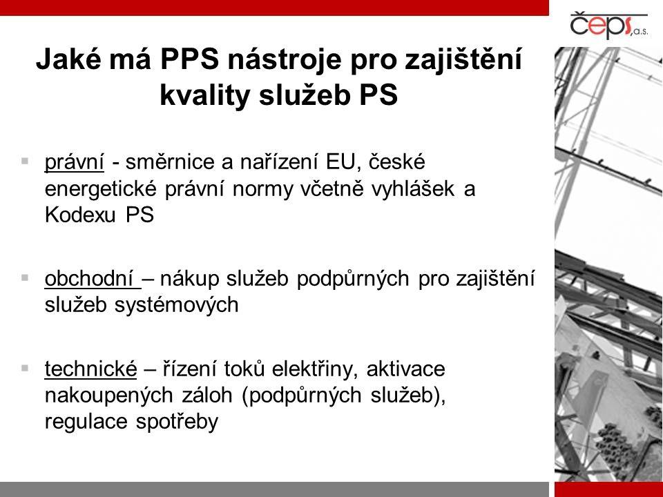 Jaké má PPS nástroje pro zajištění kvality služeb PS  právní - směrnice a nařízení EU, české energetické právní normy včetně vyhlášek a Kodexu PS  o