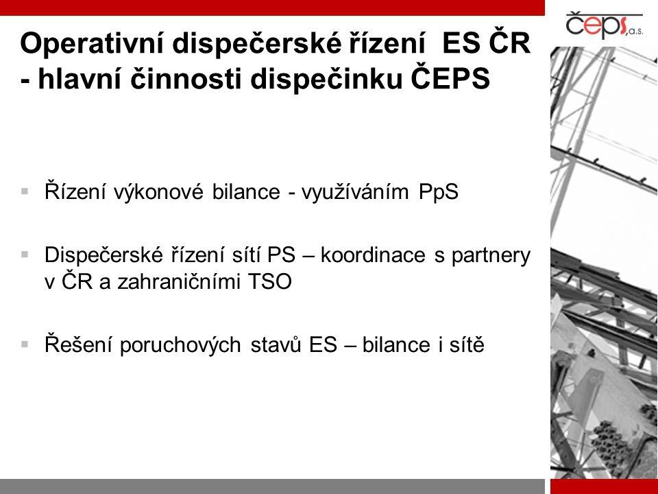 Operativní dispečerské řízení ES ČR - hlavní činnosti dispečinku ČEPS  Řízení výkonové bilance - využíváním PpS  Dispečerské řízení sítí PS – koordi