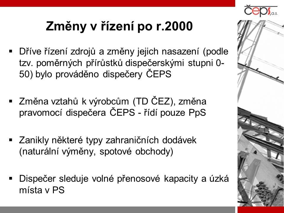 Změny v řízení po r.2000  Dříve řízení zdrojů a změny jejich nasazení (podle tzv. poměrných přírůstků dispečerskými stupni 0- 50) bylo prováděno disp