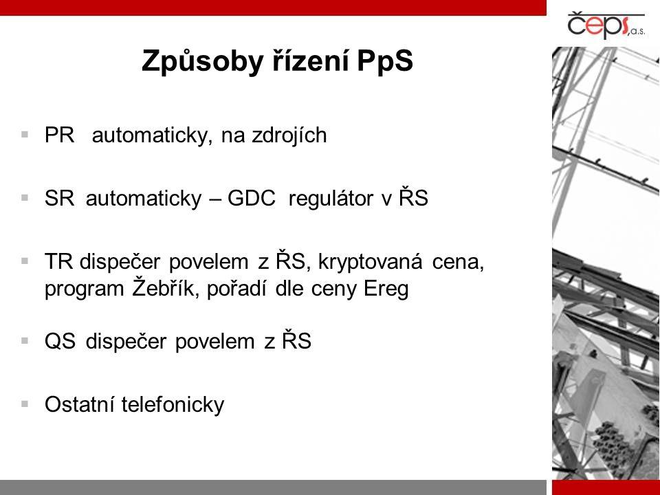 Způsoby řízení PpS  PR automaticky, na zdrojích  SRautomaticky – GDC regulátor v ŘS  TR dispečer povelem z ŘS, kryptovaná cena, program Žebřík, poř