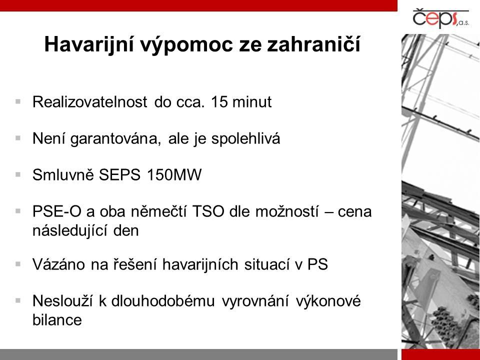 Havarijní výpomoc ze zahraničí  Realizovatelnost do cca. 15 minut  Není garantována, ale je spolehlivá  Smluvně SEPS 150MW  PSE-O a oba němečtí TS