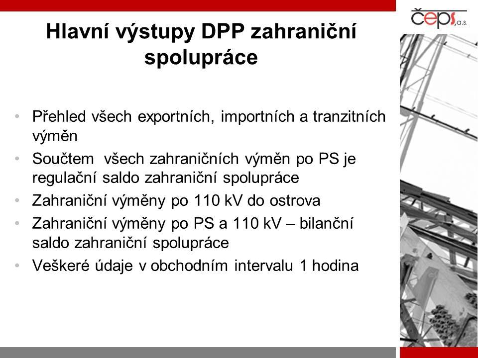 Hlavní výstupy DPP zahraniční spolupráce Přehled všech exportních, importních a tranzitních výměn Součtem všech zahraničních výměn po PS je regulační