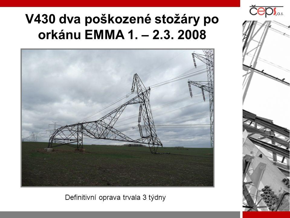 V430 dva poškozené stožáry po orkánu EMMA 1. – 2.3. 2008 Definitivní oprava trvala 3 týdny
