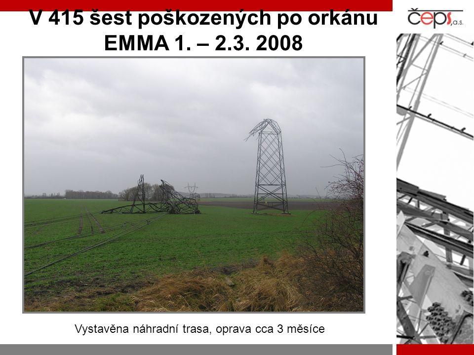 V 415 šest poškozených po orkánu EMMA 1. – 2.3. 2008 Vystavěna náhradní trasa, oprava cca 3 měsíce