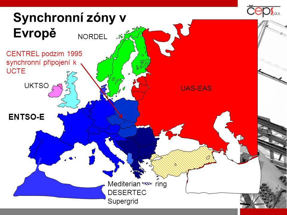 Synchronní zóny v Evropě CENTREL podzim 1995 synchronní připojení k UCTE UKTSO ENTSO-E NORDEL UAS-EAS Mediterian ring DESERTEC Supergrid