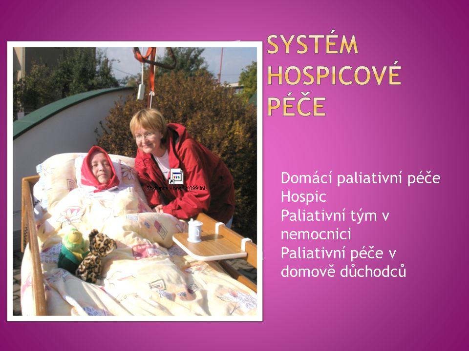 Domácí paliativní péče Hospic Paliativní tým v nemocnici Paliativní péče v domově důchodců