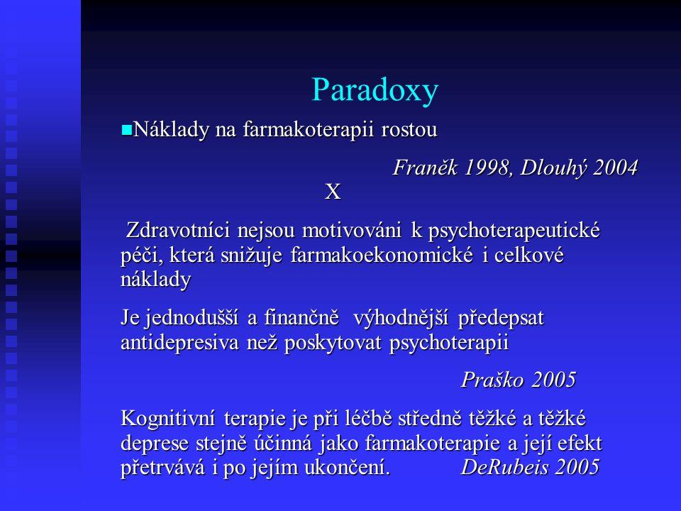 Paradoxy Náklady na farmakoterapii rostou Náklady na farmakoterapii rostou Franěk 1998, Dlouhý 2004 X Zdravotníci nejsou motivováni k psychoterapeutic