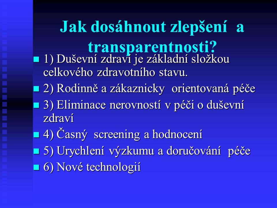 Jak dosáhnout zlepšení a transparentnosti? 1) Duševní zdraví je základní složkou celkového zdravotního stavu. 1) Duševní zdraví je základní složkou ce