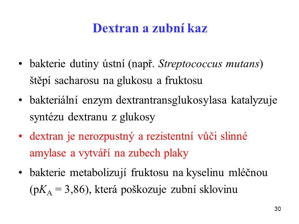 30 Dextran a zubní kaz bakterie dutiny ústní (např.