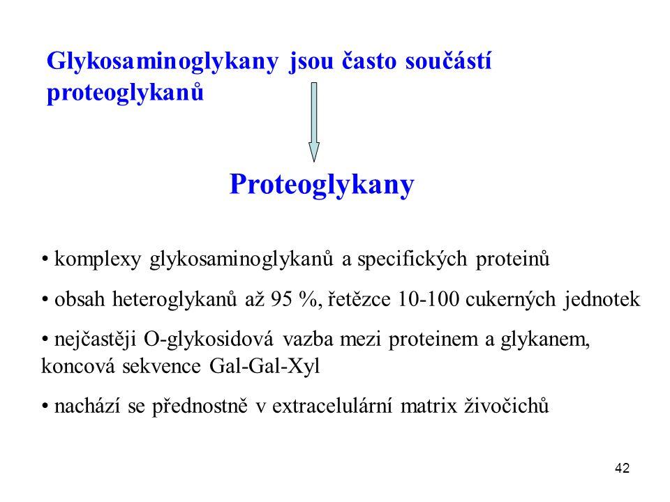 42 Glykosaminoglykany jsou často součástí proteoglykanů Proteoglykany komplexy glykosaminoglykanů a specifických proteinů obsah heteroglykanů až 95 %, řetězce 10-100 cukerných jednotek nejčastěji O-glykosidová vazba mezi proteinem a glykanem, koncová sekvence Gal-Gal-Xyl nachází se přednostně v extracelulární matrix živočichů