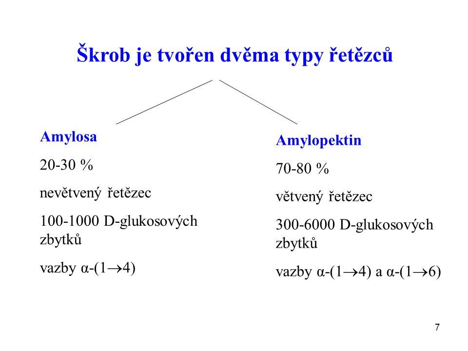 7 Škrob je tvořen dvěma typy řetězců Amylosa 20-30 % nevětvený řetězec 100-1000 D-glukosových zbytků vazby α-(1  4) Amylopektin 70-80 % větvený řetězec 300-6000 D-glukosových zbytků vazby α-(1  4) a α-(1  6)