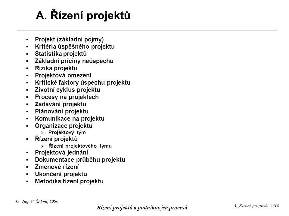 © Ing. V. Šebek, CSc. Řízení projektů a podnikových procesů A_Řízení projektů 1/98 A. Řízení projektů  Projekt (základní pojmy)  Kritéria úspěšného