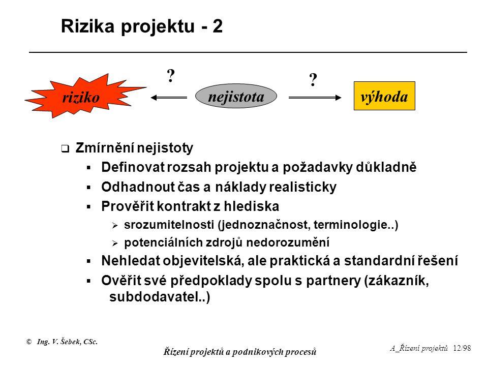 © Ing. V. Šebek, CSc. Řízení projektů a podnikových procesů A_Řízení projektů 12/98 Rizika projektu - 2  Zmírnění nejistoty  Definovat rozsah projek