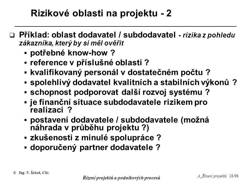 © Ing. V. Šebek, CSc. Řízení projektů a podnikových procesů A_Řízení projektů 18/98 Rizikové oblasti na projektu - 2  Příklad: oblast dodavatel / sub