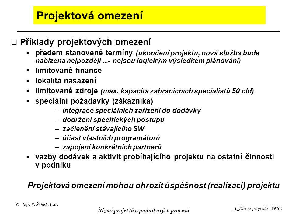 © Ing. V. Šebek, CSc. Řízení projektů a podnikových procesů A_Řízení projektů 19/98 Projektová omezení  Příklady projektových omezení  předem stanov