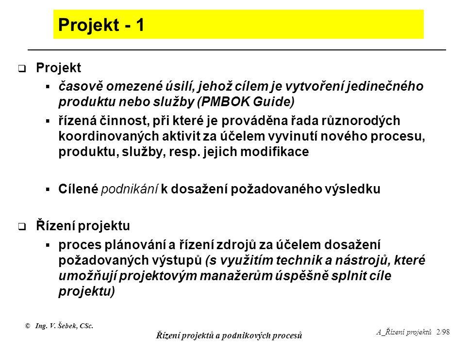 © Ing. V. Šebek, CSc. Řízení projektů a podnikových procesů A_Řízení projektů 2/98 Projekt - 1  Projekt  časově omezené úsilí, jehož cílem je vytvoř