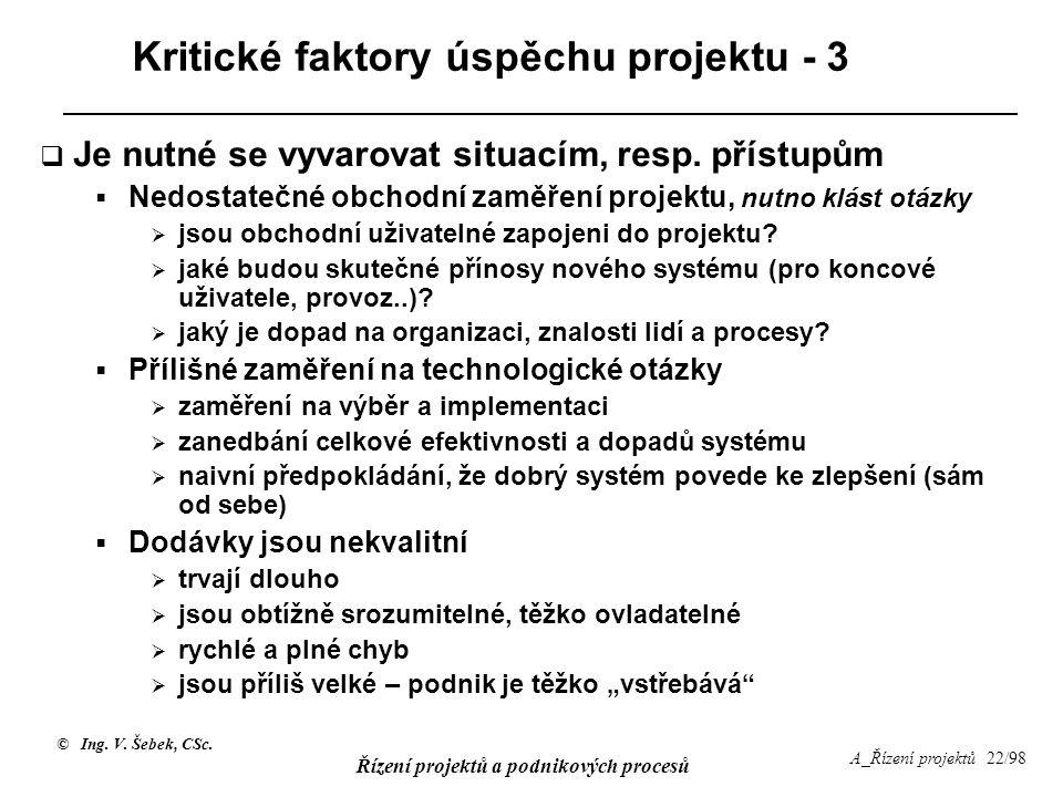 © Ing. V. Šebek, CSc. Řízení projektů a podnikových procesů A_Řízení projektů 22/98 Kritické faktory úspěchu projektu - 3  Je nutné se vyvarovat situ