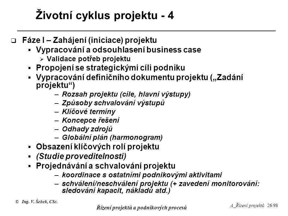© Ing. V. Šebek, CSc. Řízení projektů a podnikových procesů A_Řízení projektů 26/98 Životní cyklus projektu - 4  Fáze I – Zahájení (iniciace) projekt