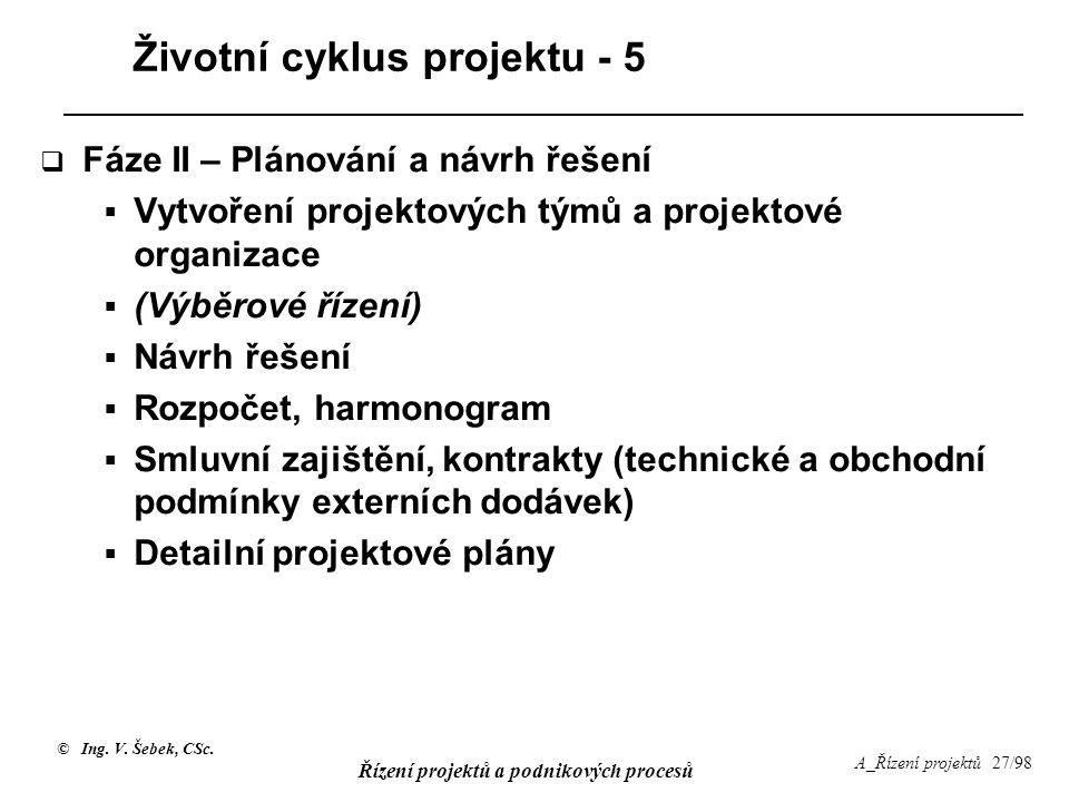 © Ing. V. Šebek, CSc. Řízení projektů a podnikových procesů A_Řízení projektů 27/98 Životní cyklus projektu - 5  Fáze II – Plánování a návrh řešení 