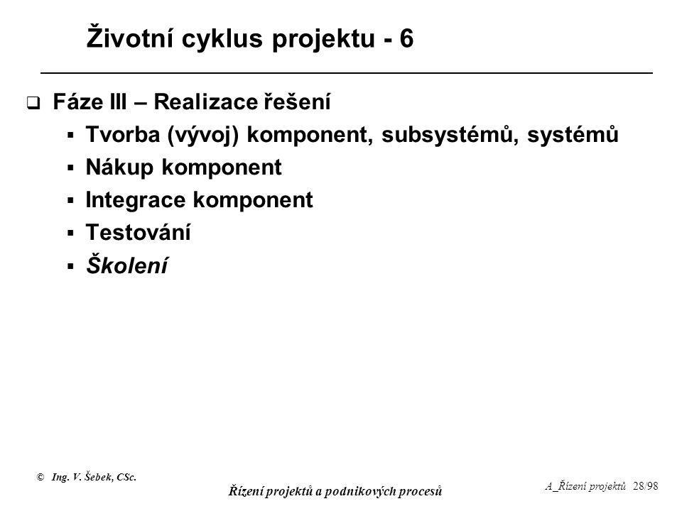 © Ing. V. Šebek, CSc. Řízení projektů a podnikových procesů A_Řízení projektů 28/98 Životní cyklus projektu - 6  Fáze III – Realizace řešení  Tvorba