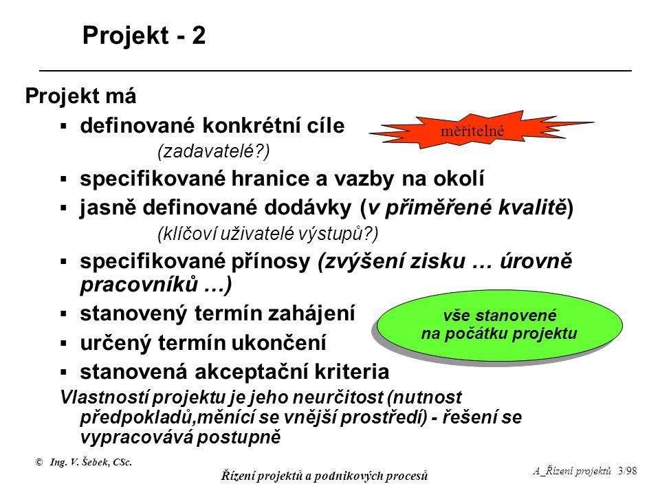 © Ing. V. Šebek, CSc. Řízení projektů a podnikových procesů A_Řízení projektů 3/98 Projekt - 2 Projekt má  definované konkrétní cíle (zadavatelé?) 
