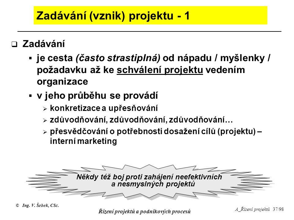 © Ing. V. Šebek, CSc. Řízení projektů a podnikových procesů A_Řízení projektů 37/98 Zadávání (vznik) projektu - 1  Zadávání  je cesta (často strasti