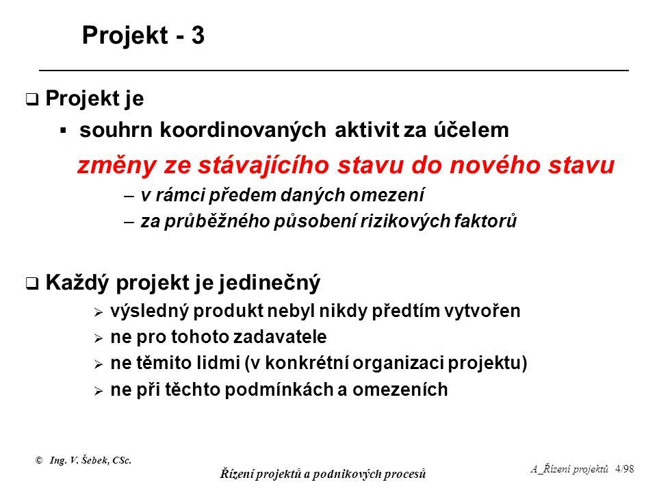 © Ing. V. Šebek, CSc. Řízení projektů a podnikových procesů A_Řízení projektů 4/98 Projekt - 3  Projekt je  souhrn koordinovaných aktivit za účelem