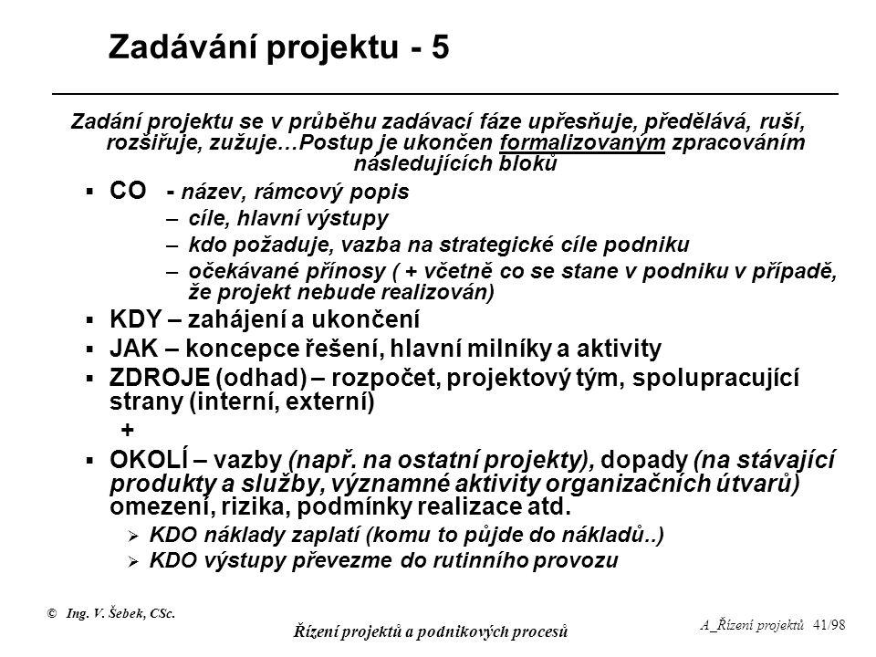 © Ing. V. Šebek, CSc. Řízení projektů a podnikových procesů A_Řízení projektů 41/98 Zadávání projektu - 5 Zadání projektu se v průběhu zadávací fáze u