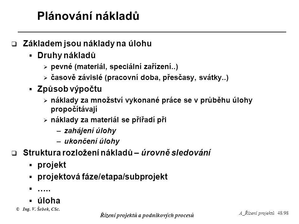 © Ing. V. Šebek, CSc. Řízení projektů a podnikových procesů A_Řízení projektů 48/98 Plánování nákladů  Základem jsou náklady na úlohu  Druhy nákladů