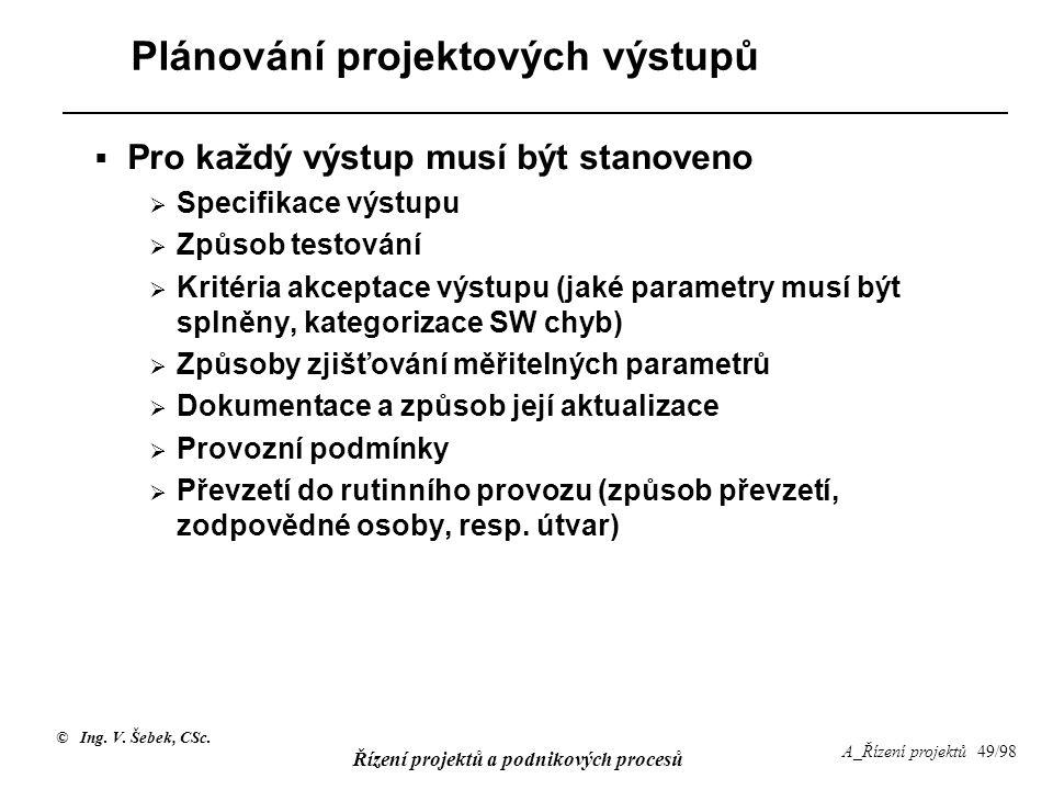 © Ing. V. Šebek, CSc. Řízení projektů a podnikových procesů A_Řízení projektů 49/98 Plánování projektových výstupů  Pro každý výstup musí být stanove