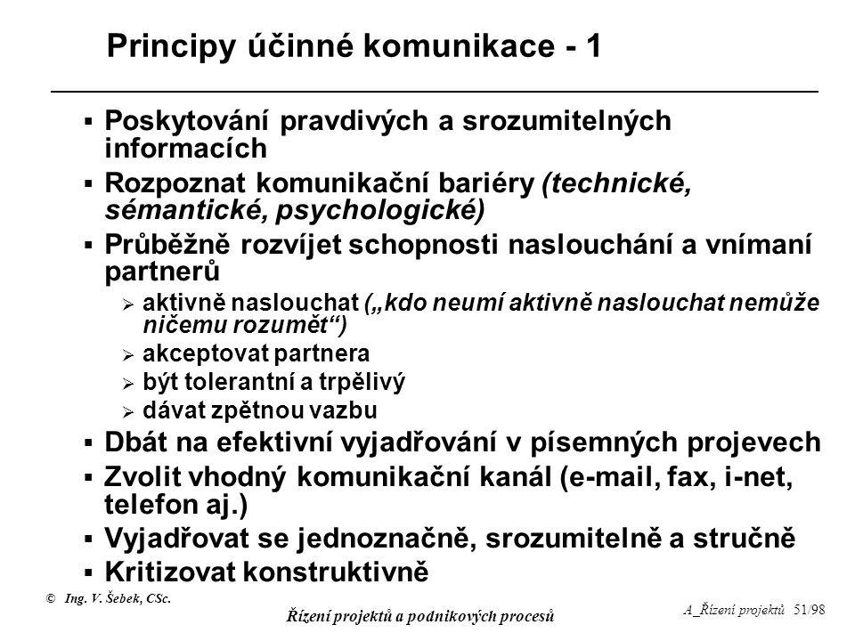 © Ing. V. Šebek, CSc. Řízení projektů a podnikových procesů A_Řízení projektů 51/98 Principy účinné komunikace - 1  Poskytování pravdivých a srozumit