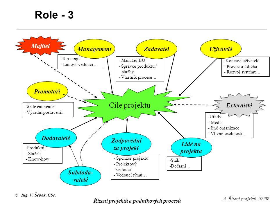 © Ing. V. Šebek, CSc. Řízení projektů a podnikových procesů A_Řízení projektů 58/98 - Manažer BU - Správce produktu / služby - Vlastník procesu.. Role